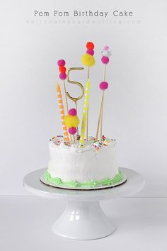 Simple and FUN Pom Pom Birthday Cake Topper - Delineate Your Dwelling: