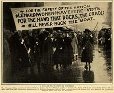 Suffragists march on Michigan Ave, 1916, Chicago.