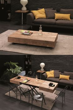 The Cristallo table from Resource Furniture transforms from a coffee table to a Space Saving Furniture, Furniture For Small Spaces, Cool Furniture, Furniture Design, Barbie Furniture, Furniture Legs, Garden Furniture, Furniture Cleaning, Furniture Buyers