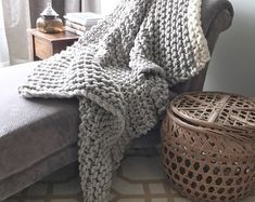 Chunky knit blanket in silver Grey and Cream, it is warm and cozy, made with natural hand spun yarn – Knitting Blanket For Beginners Chunky Blanket, Wool Blanket, Wool Wall Hanging, Giant Knitting, Chunky Wool, Chunky Knits, Hand Spinning, Knitted Blankets, Warm And Cozy