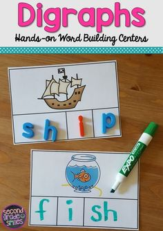 These fun, hands-on digraph activities were designed to help my students practice segmenting and spelling words with beginning and ending digraphs th, sh, ch, and wh. These work well as word work center centers in first grade and second grade. Great for s