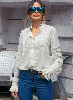Solid Stand Collar Long Sleeve Blouses - White S Boho Fashion, Fashion Outfits, Fashion Trends, Latest Fashion For Women, Womens Fashion, Fashion Online, Bohemian Mode, Estilo Boho, Long Blouse
