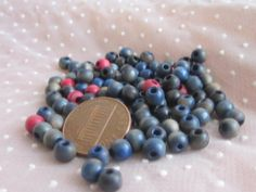 100 Blue and Red Wooden Beads Rescued/Reused from an old Czech Purse
