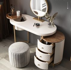 Dressing Table Mirror Design, Bedroom Dressing Table, Dressing Table With Stool, Dressing Room Design, Diy Dressing Tables, Home Room Design, Bed Design, Luxurious Bedrooms, House Rooms