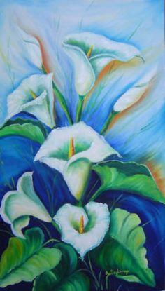 O fundo em diferentes tons de azul, criou um clima de suavidade para receber os copos de leite, em óleo sobre tela.Não ficou agradável?