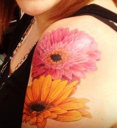 Gerbera daisy tattoo orange fuchsia hot pink
