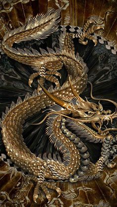 Gold chinese dragon -- scales
