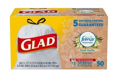 Glad Tall Kitchen Drawstring Trash Bags - OdorShield 13 Gallon White Trash Bag, Febreze Fresh Vanilla and Cream - 40 Count - Cat store galore Kitchen Garbage Bags, Kitchen Trash Cans, Cat Store, Trash Bag, Lavender Scent, Branded Bags, Count, Cleaning Products, Cleaning Tips