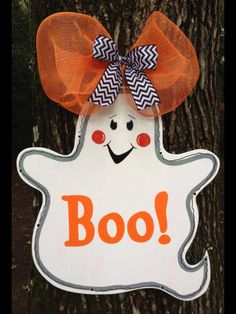 Spooky Ghost wooden door sign  To place your order visit our Facebook page 40.00