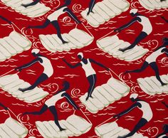 "Art Deco ""Surfers"" fabric available as a print at the V shop online"