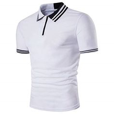 Men's Color Blocking Slim Casual Short Sleeve T-shirt Single Breasted Polo Shirts Polo T Shirts, Short Sleeve Polo Shirts, Golf Shirts, Golf Fashion, Men's Fashion, Fitness Fashion, Male T Shirt, Shirt Men, Georgia