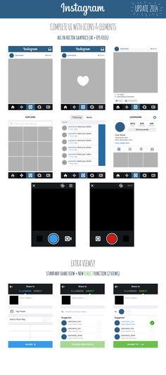 Instagram UI iOS7 2014 Views + icons + elements on Behance