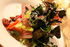The Federal Salad, watermelon radish, everglades tomatoes, whiskey barrel vin, crispy onions