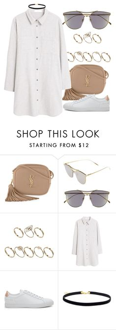 """""""Untitled #2365"""" by annielizjung ❤ liked on Polyvore featuring Yves Saint Laurent, Gentle Monster, ASOS, MANGO and Common Projects"""
