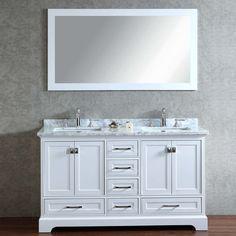 2-Piece Newport Mirrored Double Sink Bathroom Vanity Set