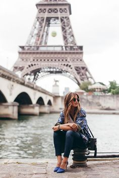 """- """"This was taken the day I arrived in Paris—my first stop was of course the Eiffel Tower. I wore heels because they were so cute with my outfit but I would highly recommend a more comfortable option for touring the city.""""Photos: Courtesy of Rachel Barnes Oh Paris, Paris Girl, Paris Must See, Paris Chloe, Montmartre Paris, Paris Photography, Travel Photography, Eiffel Tower Photography, Summer Photography"""