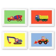 Vehicle nursery print set Boys wall art Construction nursery