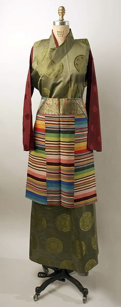 Ensemble, pieces made variously from silk, metal and cotton, mid-20th century, Tibetan.