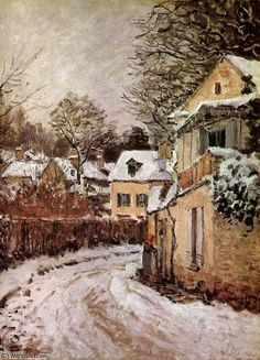 Street in Louveciennes Sun by Alfred Sisley (1839-1899, France)