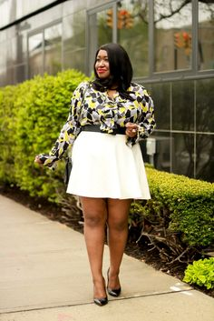 Plus Size Fashion for Women • White Skirt Outfit Idea • Remixed | Shapely Chic Sheri