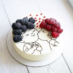 Tag your bestfriend friends kiss cake repost Cooking Cake. Tag your bestfriend friends kiss cake repost Cooking Cake.msk This cake is so original! I am fan! Hers hairs are so… Food Cakes, Cupcake Cakes, Fruit Cakes, Pretty Cakes, Cute Cakes, Bolo Original, Cooking Cake, Love Cake, Creative Cakes
