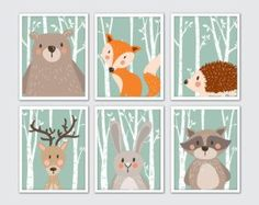 Woodland Animals Nursery Art Woodland Nursery by RomeCreations                                                                                                                                                                                 More