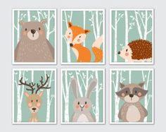 Woodland Animals Nursery Art Woodland Nursery by RomeCreations