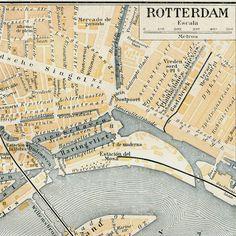 Rotterdam map, Pays-Bas.