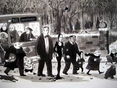 The Addams Family Show cartoon of Bus at Halloween Museum of The City of New York on Street and Avenue Charles Chas Addams New Yorker cartoon character 2010 cartoon humor gothic horror Addams Family Show, Original Addams Family, Addams Family Cartoon, Addams Family Characters, Adams Family, Family Tv, Family Humor, Family Values, Charles Addams