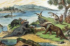C0111020-1888_colour_litho_of_Jurassic_dinosaurs-SPL.jpg (530×350)