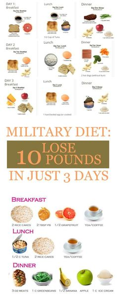 The quick weight loss can be achieved using a military diet. The only thing you have to do is to follow the military diet strictly. You must stick to the portion of meal suggested and follow the diet's guidelines. However, the military diet is not that firm and allows the replacement of one fruit with another and you can even use lentils instead of meat. The use of mustard, non-stick cooking spray, lemon juice, spices, tea, calorie-free sweetener, water and black coffee is also allowed…