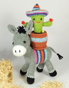 Crochet donkey and cactus by Janine Holmes
