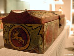 Wooden box from the Rhine Valley about 1300. Tempera painted floral and animal motifs. Metropolitan Museum collection.