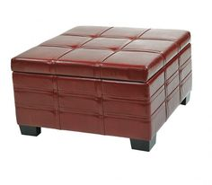 Creating Edgy Atmosphere with Red Leather Ottoman Coffee Table Leather Ottoman Coffee Table, Red Ottoman, Space Saving, Modern Interior, Red Leather, Furniture, Home Decor, Decoration Home, Room Decor