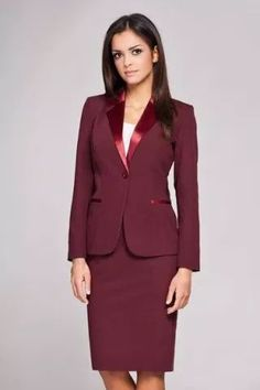 Skirt suits really add a pop of color to the fashion forward man's work wardrobe. Business Outfits, Business Attire, Office Outfits, Business Fashion, Business Women, Suit Fashion, Fashion Outfits, Woman Fashion, Classic Style Women