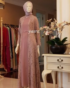 Image may contain: 1 person, standing Dress Brukat, Hijab Dress Party, Hijab Style Dress, Dress Outfits, Kebaya Modern Dress, Kebaya Dress, Dress Pesta, Dress Brokat Muslim, Muslim Dress