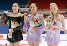 Mao Asada (🇯🇵), Rika Hongo (🇯🇵), and Elena Radionova (🇷🇺)  2015 Beijing