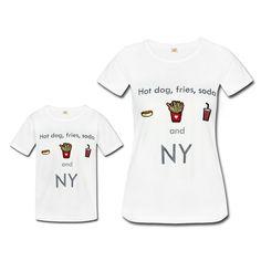 Kit Camisetas Minime  Tal Mãe e Tal Filha Filho  Hot Dog, Fries and Soda - Branca Patch Style | 50% Off