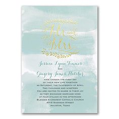 "Mr. and Mrs. Watercolors: Getting married in artistic style? This watercolor design invitation shows it with your color choice and ""Mr and Mrs"" in gold foil."