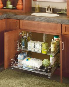 Thanks to Diamond, you can tidy your bathroom counters by organizing your toiletries under the sink and out of sight.