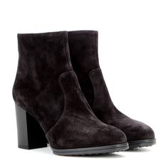 A clever choice for cool temperatures, Tod's black suede ankle boots are a grown-up approach to nonchalant chic. The heel is supportive enough to wear all day, with the classic colour a versatile option for dressy or casual looks. Suede Ankle Boots, Black Ankle Boots, Suede Booties, Black Booties, Ankle Booties, Short Boots, Casual Looks, Black Suede, Booty