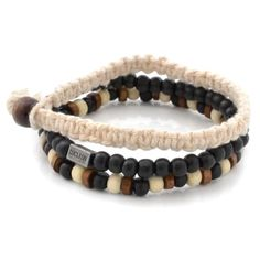 This bracelet's from the Danish brand Lucleon. Two bracelets feature wooden beads, while the third is crafted from cotton cord. Neutral tones make this accessory the perfect addition to any ensemble! Black Bracelets, Bracelets For Men, Beaded Bracelets, Leather Bracelets, Charm Bracelets, Friendship Bracelets, Bracelet Cuir, Bracelet Set, Engraved Bracelet