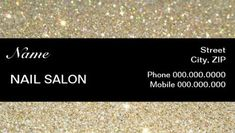 Elegant Black and Gold Sparkles and Glitter Modern Nail Salon Business Cards http://www.zazzle.com/elegant_sparkles_glitter_nail_salon_businesscard_business_card-240677262493869772?rf=238835258815790439&tc=GBCManicurist1Pin