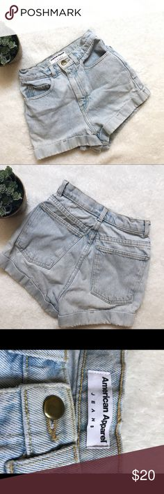 American apparel high waisted jean shorts American apparel high waisted jean shorts in great condition, the only imperfection is one of the belt loops in the back teared as seen in pictures! Easy fix. American Apparel Shorts Jean Shorts