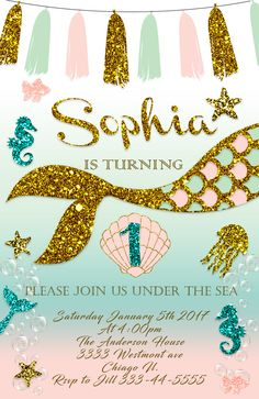 Little Mermaid Invitations Invite 1st First Birthday Party Supplies