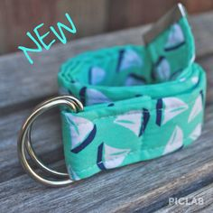 Baby/Childrens Mint and Navy Sail Boat Belt
