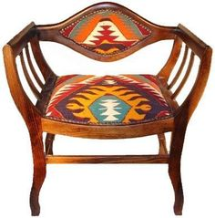 Have a seat-Furniture upholstered with colorful, antique Turkish kilim rugs. Southwest Decor, Southwest Style, Chair Upholstery, Upholstered Furniture, Furniture Projects, Cool Furniture, 1930s Furniture, Western Furniture, Futuristic Furniture