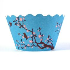 Birds with Pink Cherry Blossoms  wrappers www.bellacupcakecouture.com $7.99 includes 12
