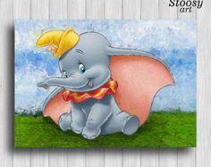 dumbo poster baby elephant wall art disney kids decor by Stoosyart Dumbo Nursery, Elephant Nursery Decor, Elephant Wall Art, Baby Elephant, Nursery Art, Disney Baby Rooms, Disney Bedrooms, Baby Disney, Disney Art