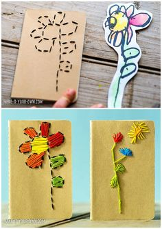 Kid-Made Stitched Notebook from kids' drawings. A lovely handmade gift for Mother's Day or anyone special. | Contributed by Make It Your Own.